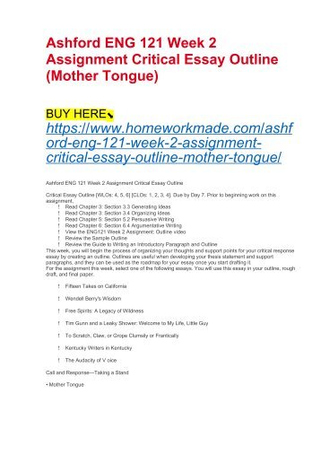 Ashford ENG 121 Week 2 Assignment Critical Essay Outline (Mother Tongue)