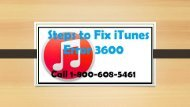 How to Fix iTunes Error 3600? Call 1-800-608-5461 Toll-Free