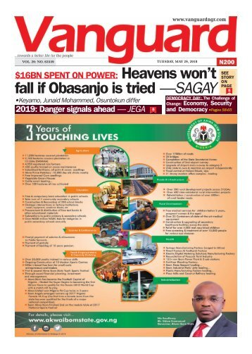 29052018 - BN SPENT ON POWER: Heavens won't fall if Obasanjo is tried —SAGAY