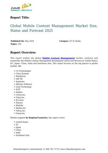 Mobile Content Management Market Size, Status and Forecast 2025