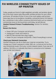 Fix Wireless Connectivity Issues on HP Printer