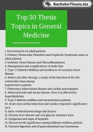 Thesis Topics In General Medicine