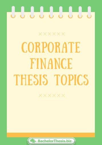 Corporate Finance Thesis Topics