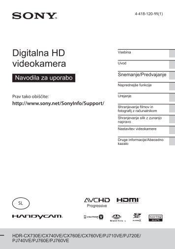 Sony HDR-PJ720E - HDR-PJ720E Mode d'emploi Slovénien