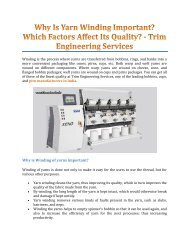Why Is Yarn Winding Important? Which Factors Affect Its Quality? - Trim Engineering Services