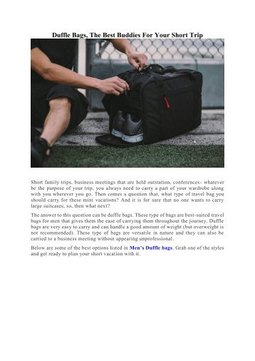 DUFFLE BAGS, THE BEST BUDDIES FOR YOUR SHORT TRIP