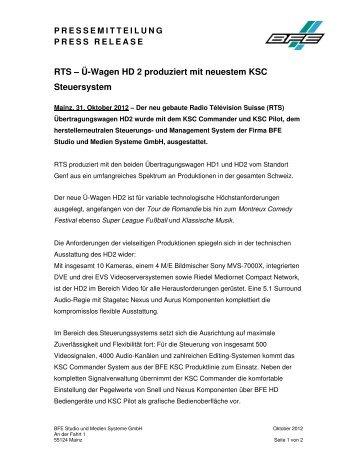 RTS – Ü-Wagen HD 2 produziert mit neuestem KSC Steuersystem