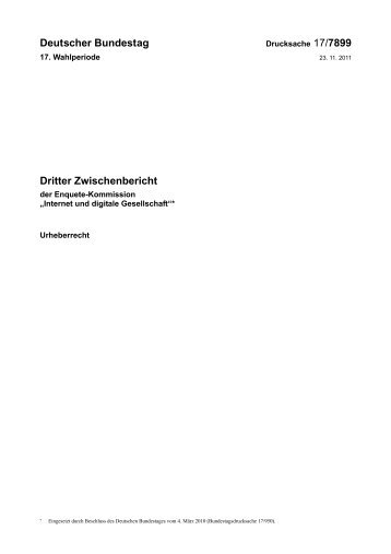 Deutscher Bundestag Dritter Zwischenbericht