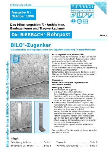 BiLO®-Zuganker - BiERBACH GmbH & Co. KG Befestigungstechnik