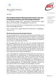 Die kartellrechtliche Wasserpreiskontrolle nach der ... - BET Aachen