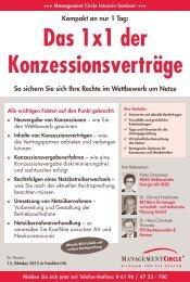 Seminar: Das 1x1 der Konzessionsverträge ... - BET Aachen