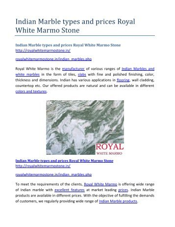Indian Marble types and prices Royal White Marmo Stone