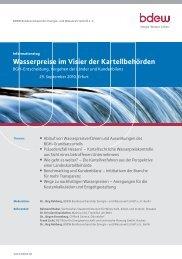 Wasserpreise im Visier der Kartellbehörden - BET Aachen