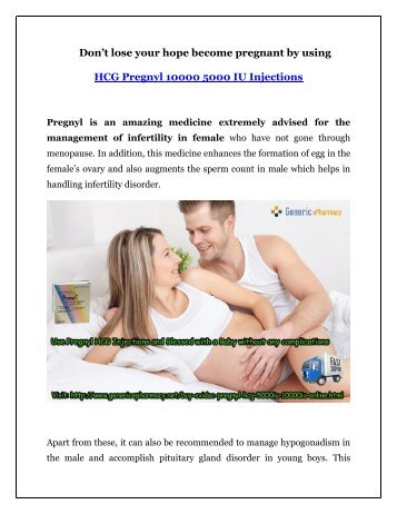 Buy Pregnyl HCG Injections Online to stop facing Infertility Anymore