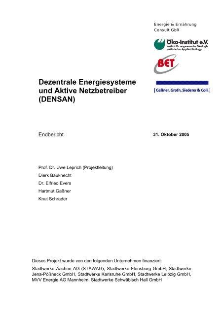 Dezentrale Energiesysteme und Aktive Netzbetreiber ... - BET Aachen