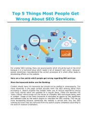 Top 5 Things Most People Get Wrong About SEO Services.