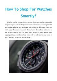 How To Shop For Watches Smartly?