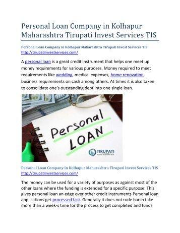 Personal Loan Company in Kolhapur Maharashtra Tirupati Invest Services TIS