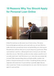 10 Reasons Why You Should Apply for Personal Loan Online