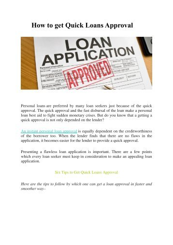 How to get Quick Loans Approval