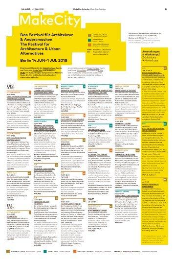 Make City 2018 Festival - Programme, Calendar