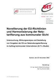 Novellierung der EU-Richtlinien und Harmonisierung ... - BET Aachen
