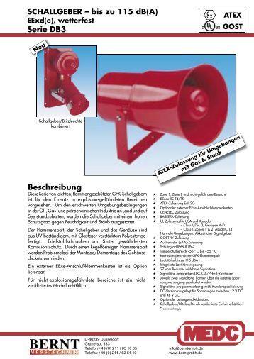 SCHALLGEBER – bis zu 115 dB(A) Serie DB3 ... - Bernt GmbH