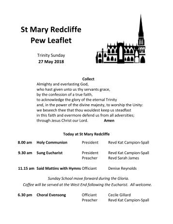 St Mary Redcliffe Church Pew Leaflet - May 27 2018