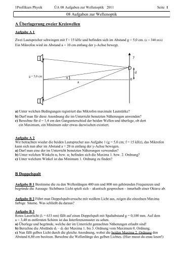 08 Aufgaben zur Wellenoptik A Überlagerung zweier Kreiswellen B ...