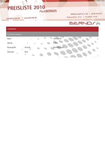 PackBERNDS Persönliche Angaben Name Telefon/Fax Adresse  E ...