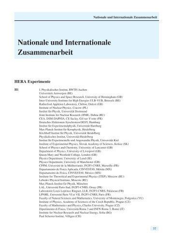 Nationale und Internationale Zusammenarbeit - Desy