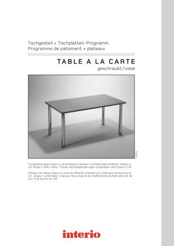 TABLE A LA CARTE