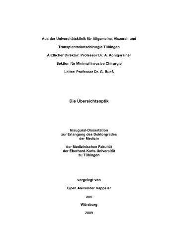 Die Übersichtsoptik - Experimentelle Minimal Invasive Chirurgie und ...
