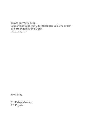 Elektrodynamik und Optik - Fachbereich Physik der Universität ...
