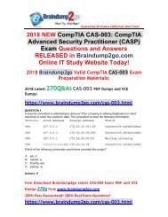 [2018-May-Version]Braindump2go CAS-003 PDF and CAS-003 VCE Dumps 270Q Free Share(1-11)