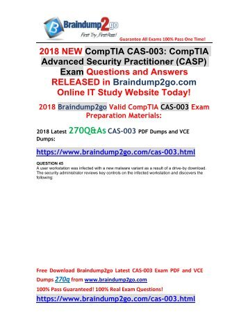 [2018-May-Version]Braindump2go CAS-003 VCE and CAS-003 PDF Dumps 270Q Free Share(45-55)