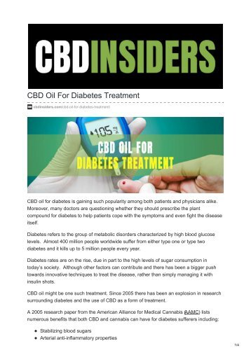 CBD Oil For Diabetes Treatment
