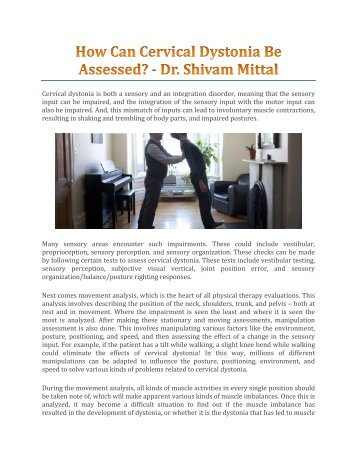 How Can Cervical Dystonia Be Assessed? - Dr. Shivam Mittal