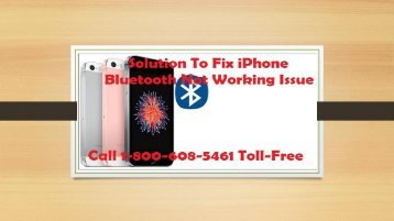 How to Fix iPhone Bluetooth Not Working Issue? Call 1-800-608-5461