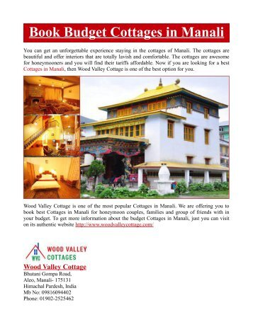 Book Budget Cottages in Manali