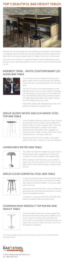 Top 5 Beautiful Bar Height Tables