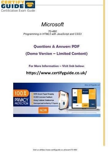 70-480 Free PDF Demo 2018