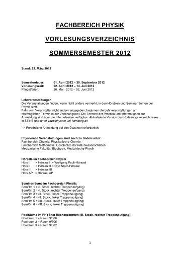 fachbereich physik vorlesungsverzeichnis sommersemester 2012