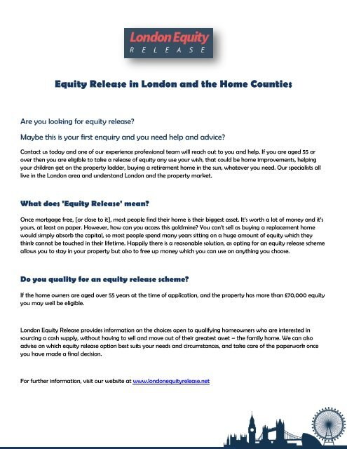 Equity Release in London and the home counties