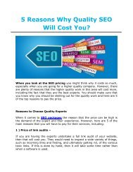 5 Reasons Why Quality SEO Will Cost You