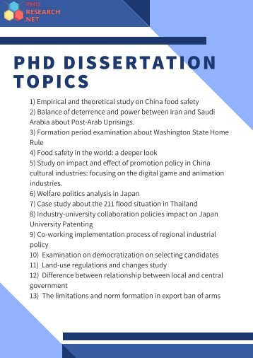 PhD Dissertation Topics