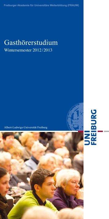 Gasthörerstudium - Weiterbildung - Albert-Ludwigs-Universität ...