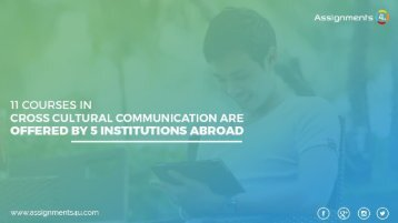 11 Courses In Cross Cultural Communication Are Offered By 5 Institutions Abroad