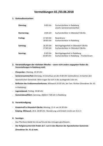 Vermeldungen für KW23/18