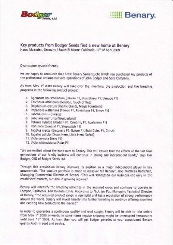 Download Press release - Benary